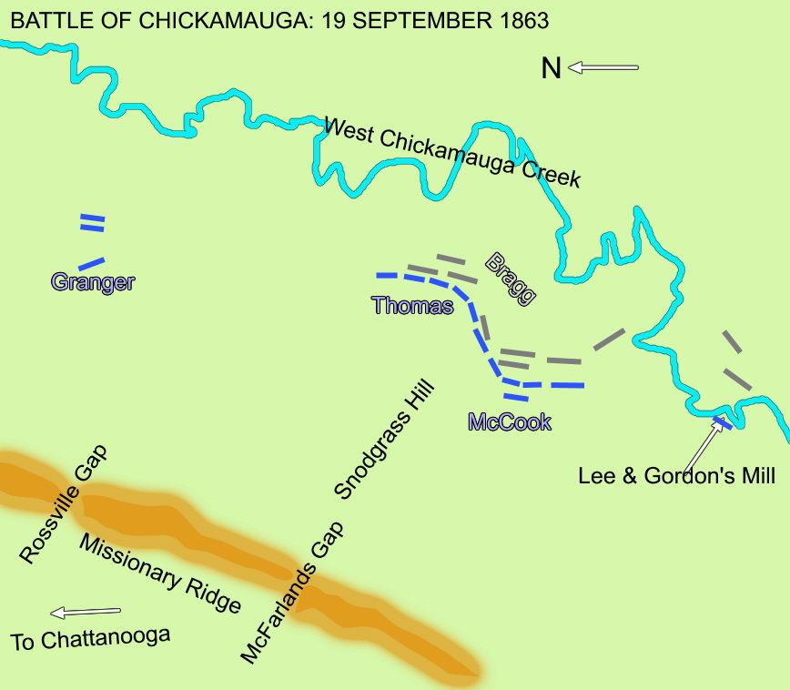 Map Battle Of Chickamauga September - Battle of chickamauga map