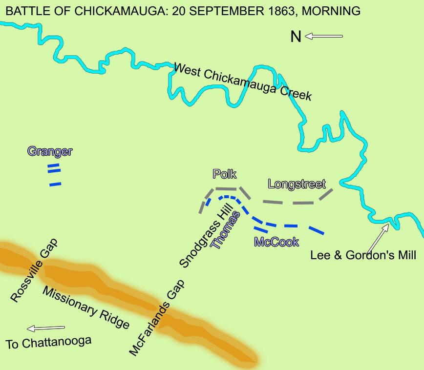 Map Battle of Chickamauga Morning of 20 September 1863
