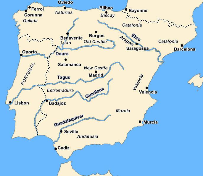 Spain And Portugal During The Peninsular War - Portugal map iberian peninsula