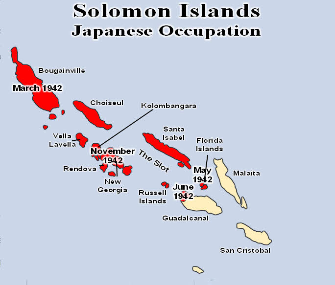 Map of Japanese occupaton of Solomon Islands