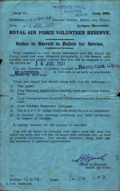 Notice to Recruit to Rejoin for Service, 14 July 1941