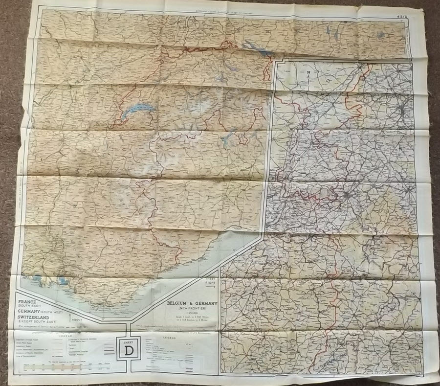 Map Of Germany France And Belgium.Raf Silk Escape Map Sheet D Se France Sw Germany Belgian German
