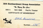 Membership Certificate for 30th Bombardment Group Association, Front