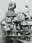 British soldier with 40mm Bofors AA Gun