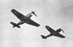 P-51 Mustang and Bf 109 from below