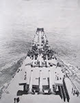 Bows of USS Iowa seen from the bridge