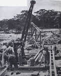 Australian sappers building a bridge on Bougainville