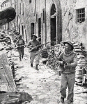 British Infantry mopping up in Umbertide, July 1944