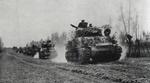 Column of British Shermans at Conselice, April 1945