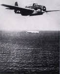 Grumman Avenger dropping torpedo at Bougainville
