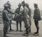 Indian Troops examine shell fragment, Gallipoli