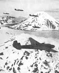 Mitsubishi G3M over icy landscape