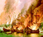 French ships burning at Saint Vaast le Hougue, 1692 (2 of 2)