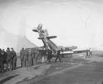 Sea Hurricane jumps barrier on carrier flight deck