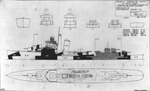 Measure 31, Camouflage Design 11D for Sims Class Destroyers, Port Side