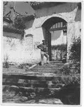 Captain Harold C. James, USAAF, at the temple gates, Kunming (2 of 2)