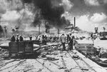 US Troops unloading barges, Saipan